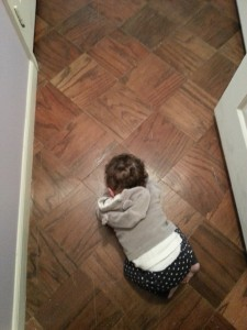 Roya was so weak that she fell asleep in the hallway in mid crawl!